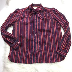Vintage Striped Polka Dot Button Down Blouse 14
